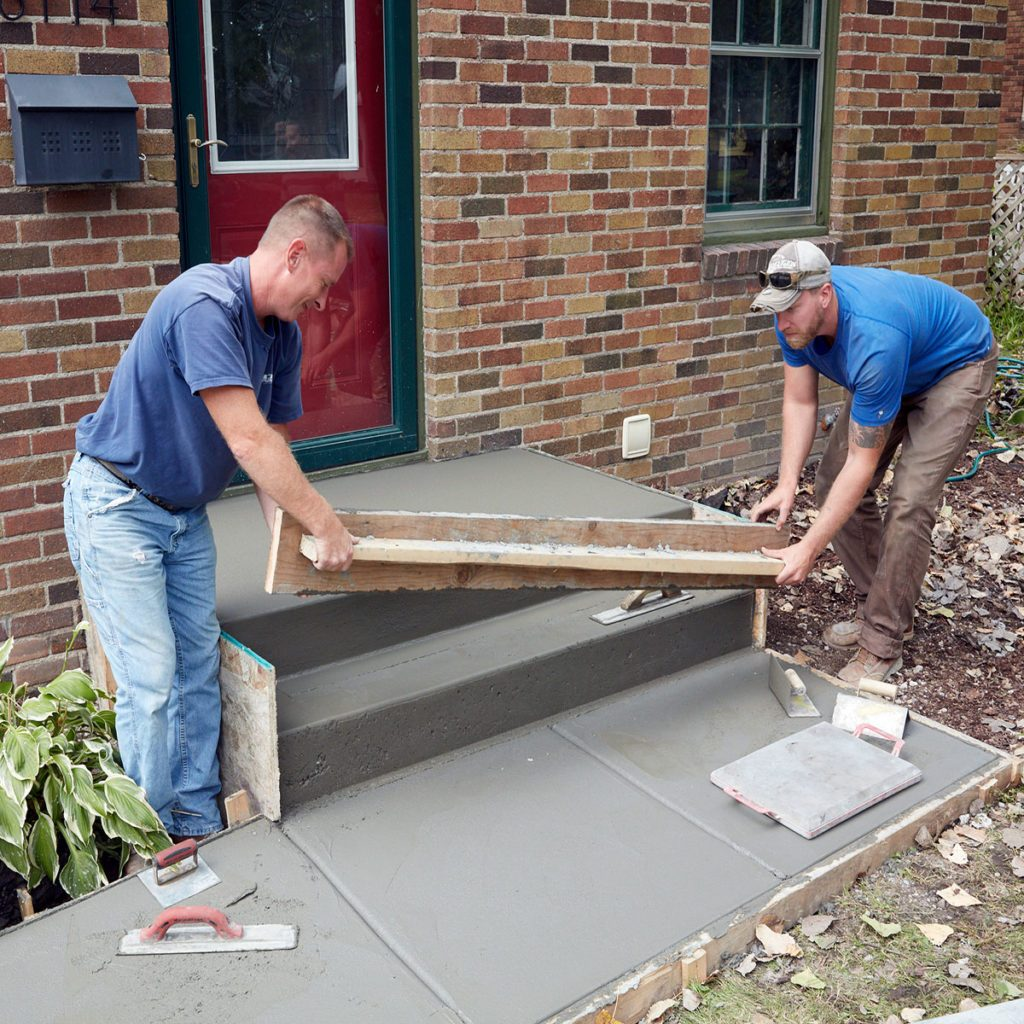 Removing the step forms before the other pieces | Construction Pro Tips