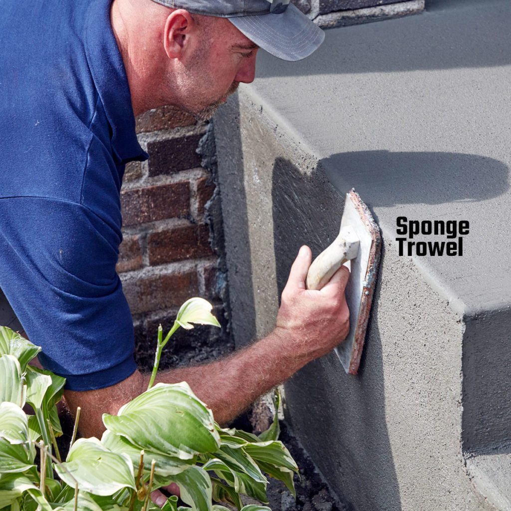 Troweling the bare sides of the step | Construction Pro Tips