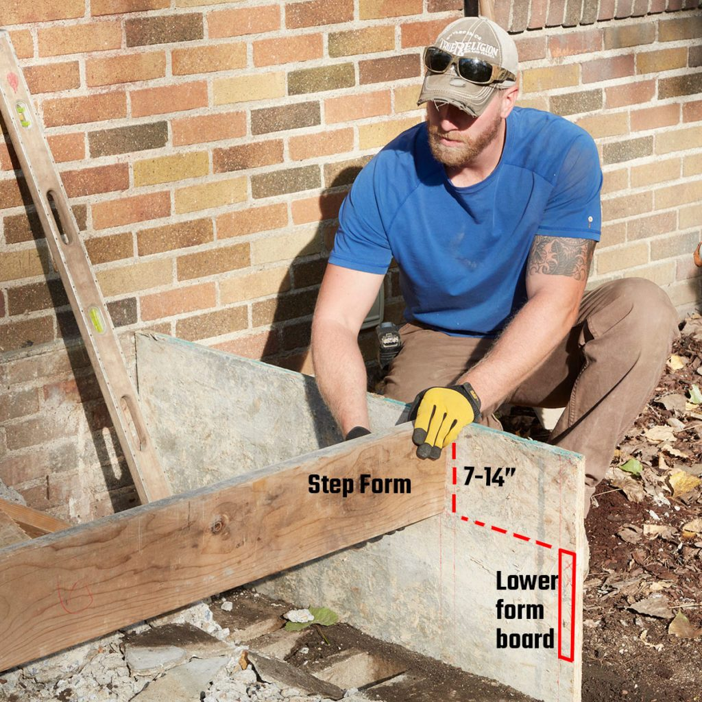 Putting the step form in place | Construction Pro Tips