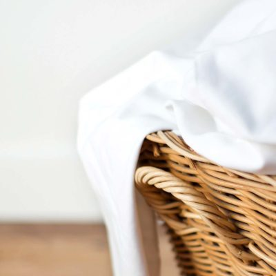 fitted sheets in basket