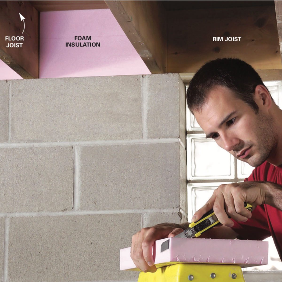 Cut Rigid Foam Insulation Into Strips With A Table Saw Or Circular The To Fit Between Floor Joists Using Box Cutter