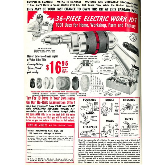 A vintage ad for a 36-piece electric work kit   Construction Pro Tips