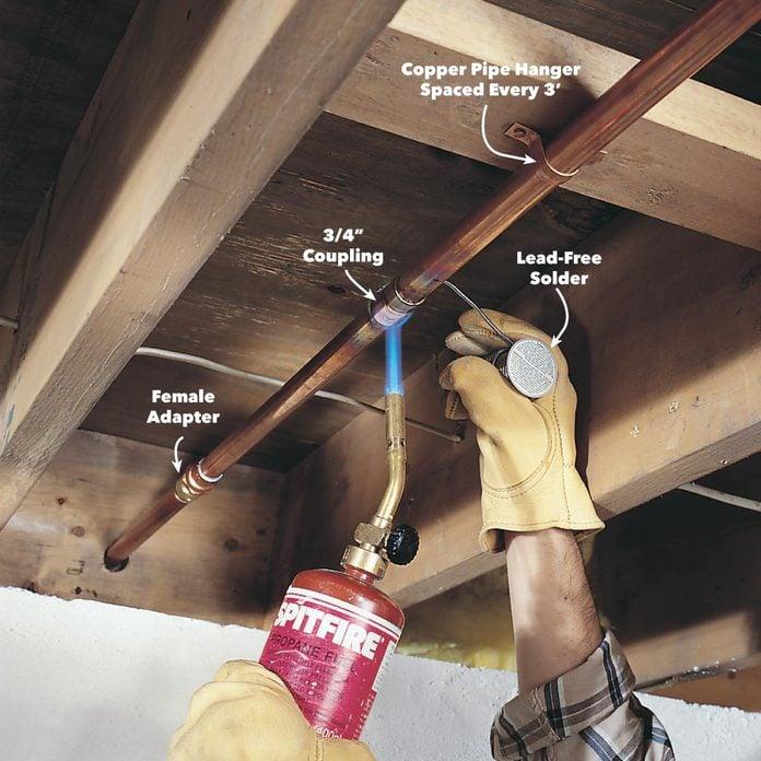 sweat the copper pipe