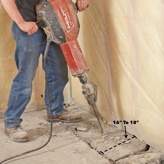bust up concrete floors with a jackhammer