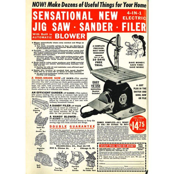 Vintage ad for a jig saw sander filer and blower | Construction Pro Tips