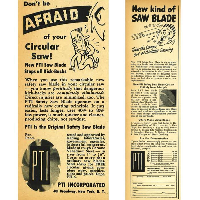 Vintage ad for a circular saw blade that 'stopped all kickbacks'   Construction Pro Tips