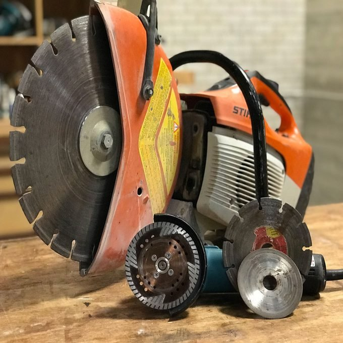 A collection of diamond blades and the tools that use them   Construction Pro Tips