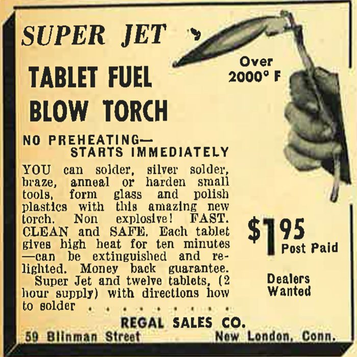 A vintage ad for a Super Jet Tablet Fuel Blow Torch   Construction Pro Tips