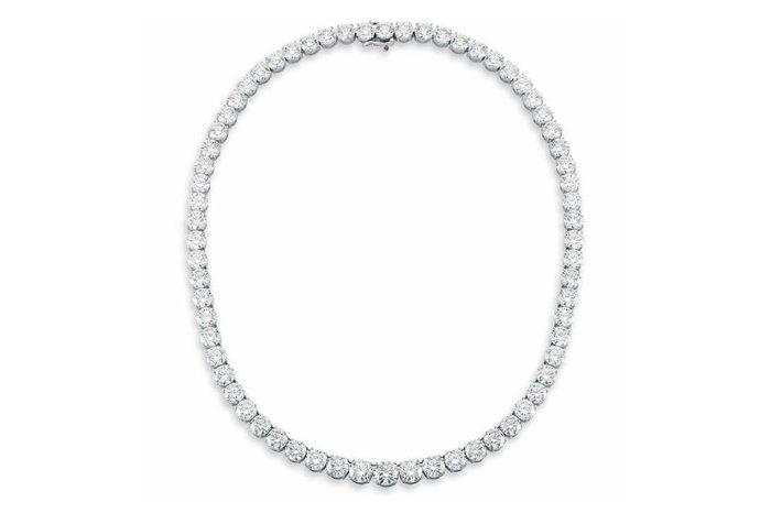 Round Brilliant 78.19 ctw VS1/VS2 Clarity H/I Color Diamond 18kt White Gold Necklace