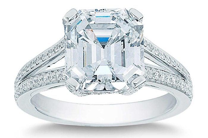 Emerald Cut 5.43 ctw VS1 Clarity E Color Diamond Platinum Wedding Ring