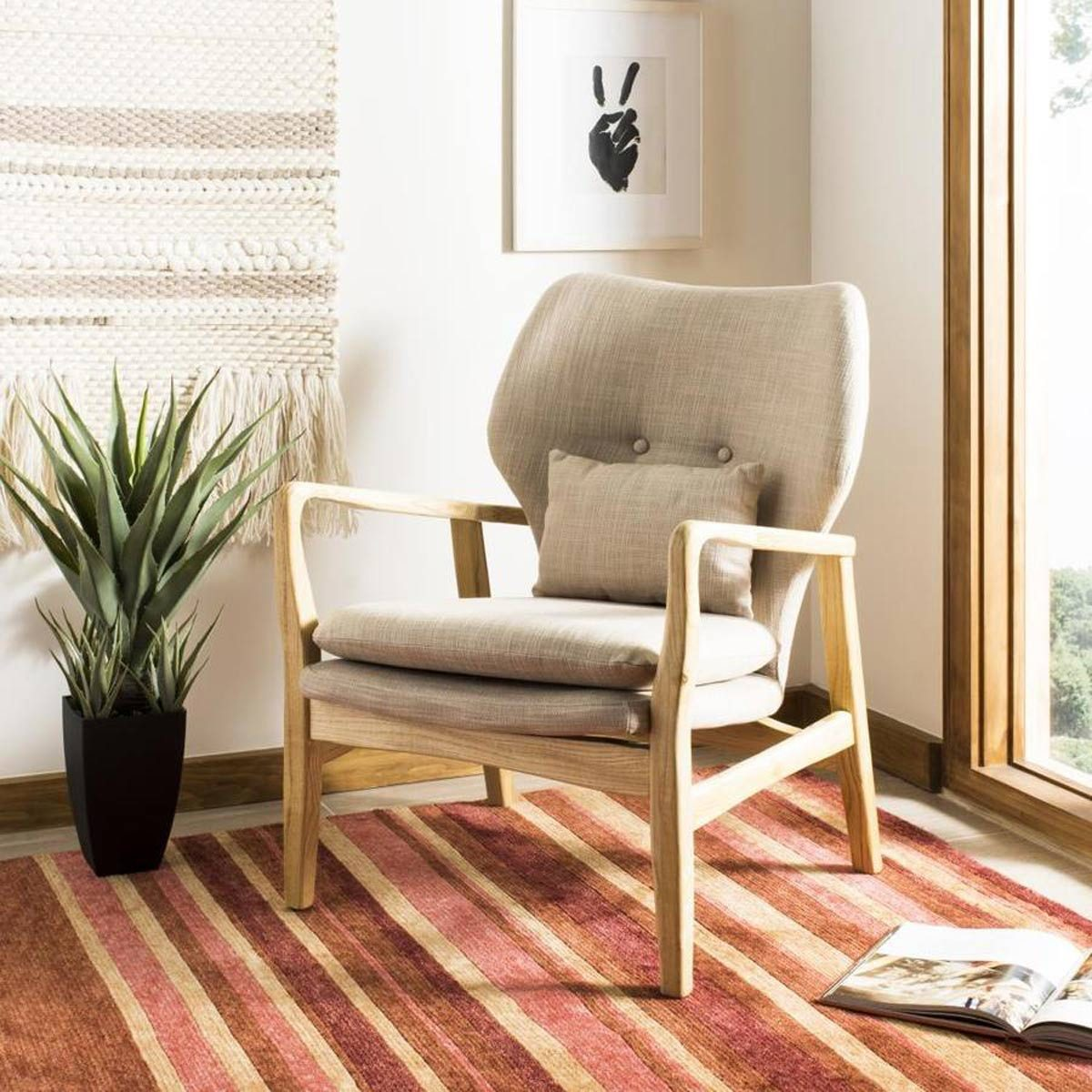 Safavieh Tarly Scandinavian Beige/Natural Accent Chair