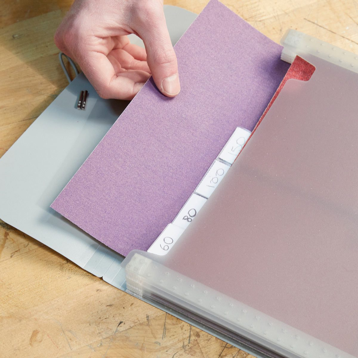 sandpaper organizing hack