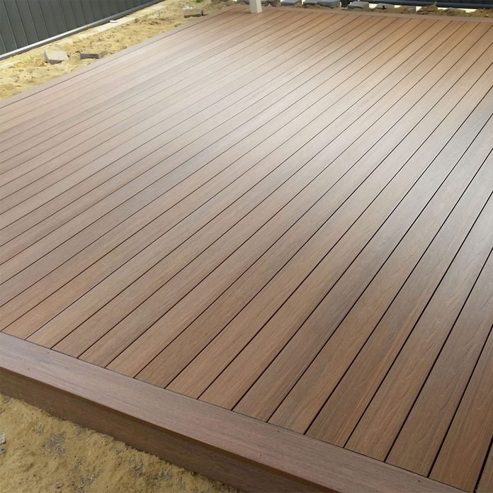 A deck made from long Newtech boards