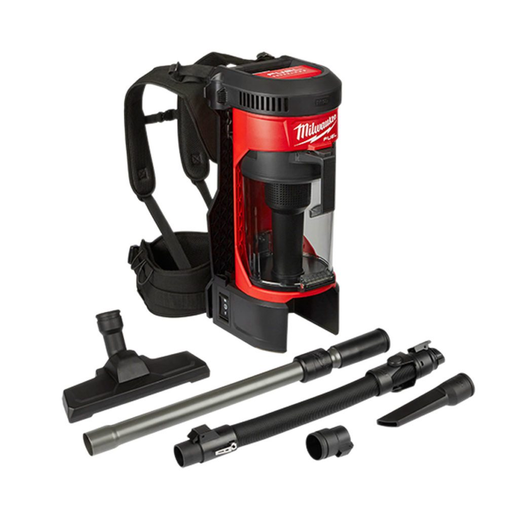A red and black backpack vacuum from Milwaukee | Construction Pro Tips