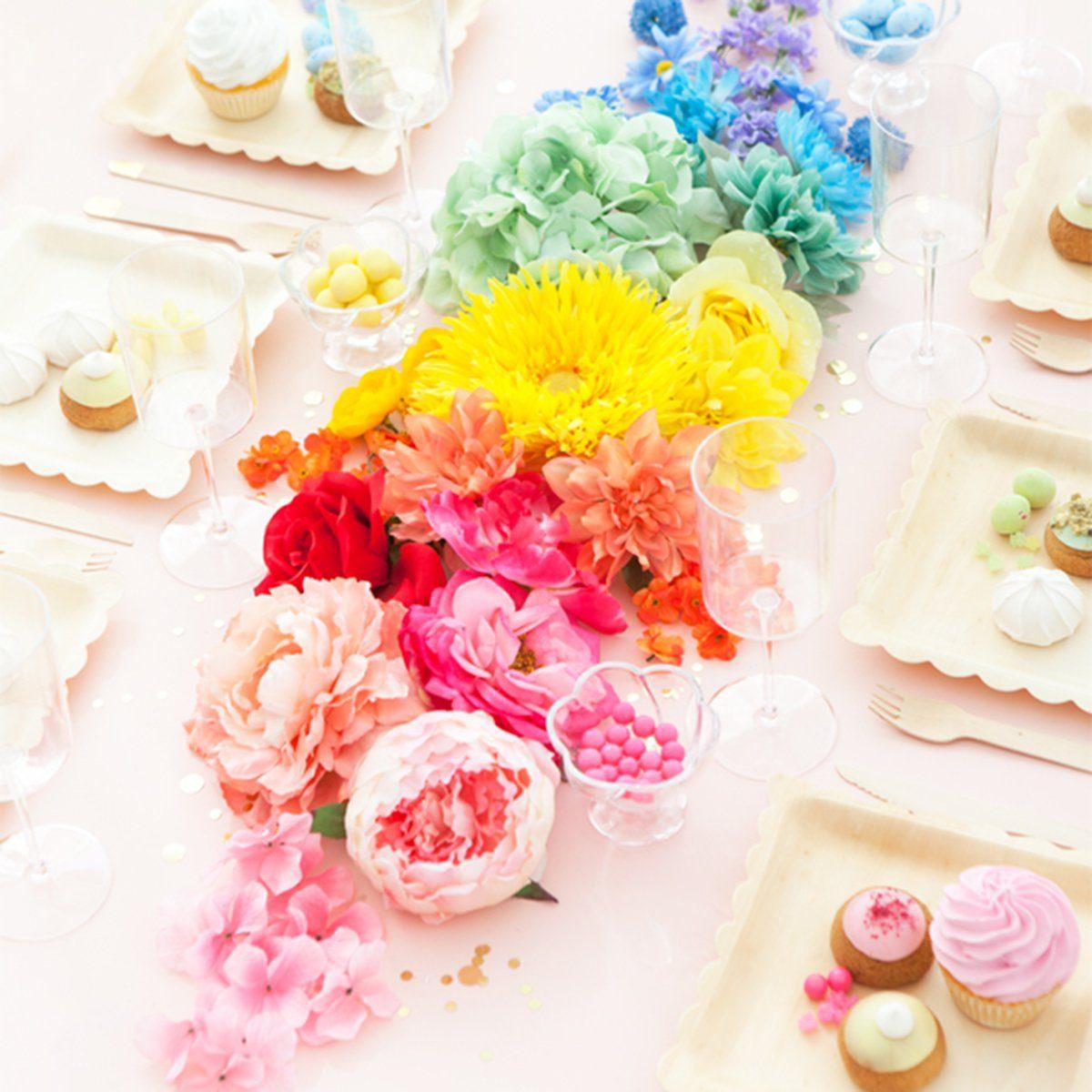 Rainbow flowers centerpiece