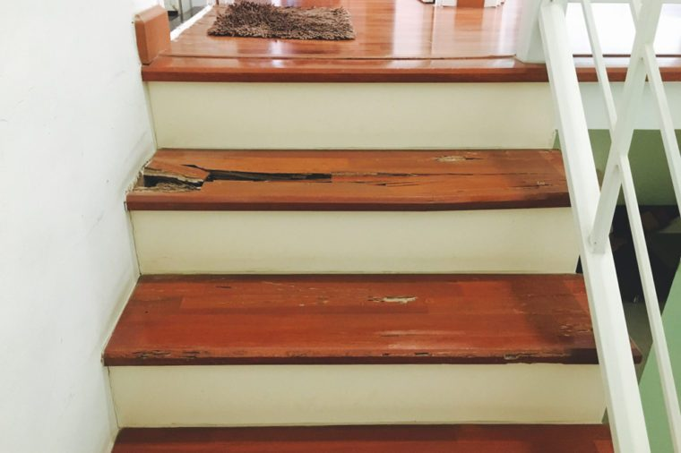 Wooden stairs in house is decay becouse termites eat.