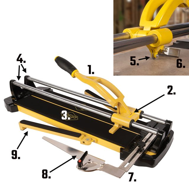 A tile cutter with parts labeled by number | Construction Pro Tips