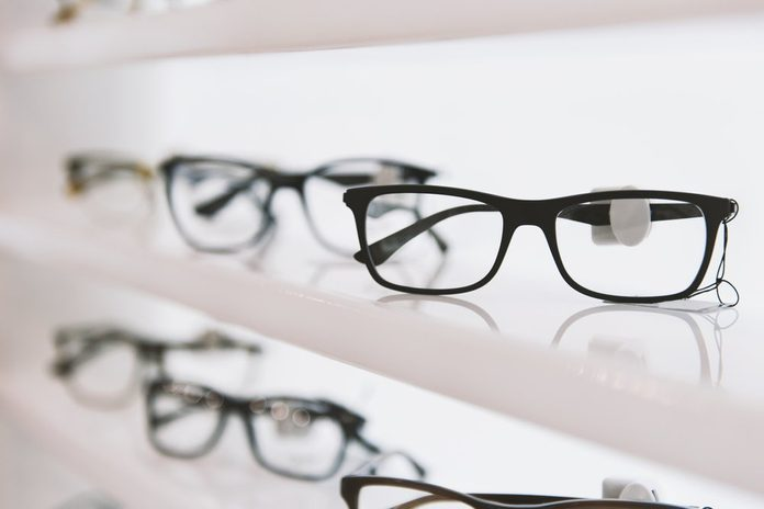 Eye glasses in a store