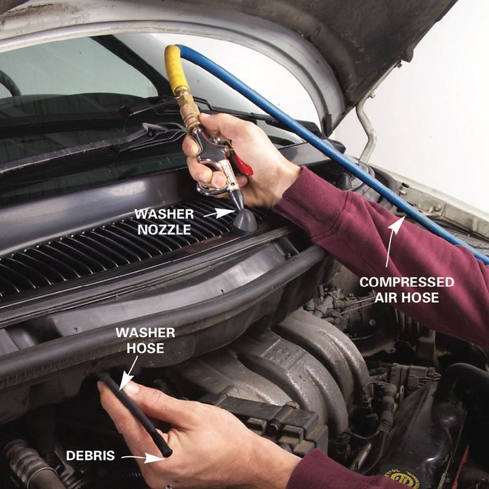 Windshield sprayer: Clear clogged windshield washer nozzles