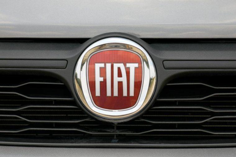 ISTANBUL - DECEMBER 24, 2018: Italian automobile manufacturer Fiat close-up logo.