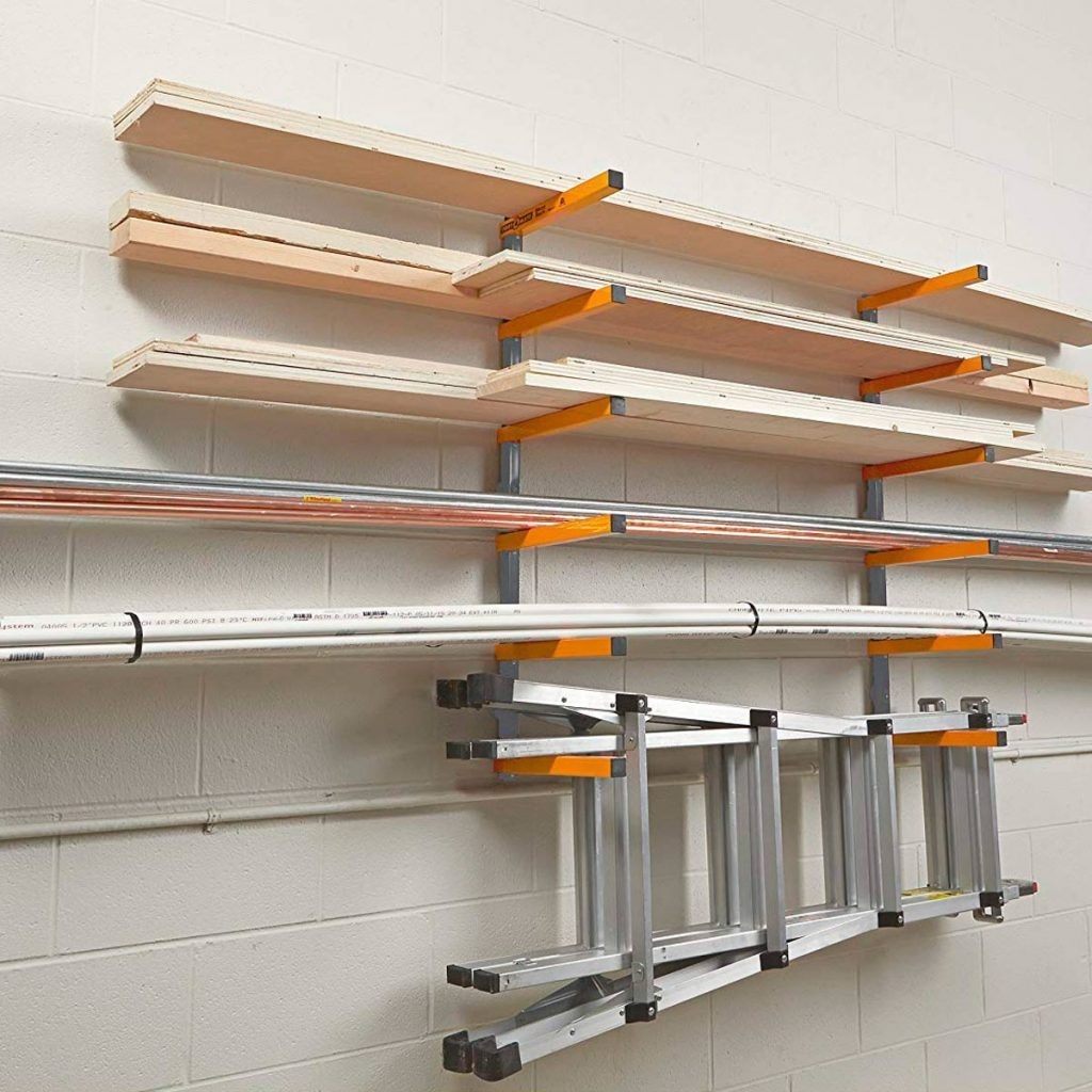 garage storage rack for lumber and ladder