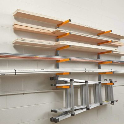 garage storage rack for lumber and ladder