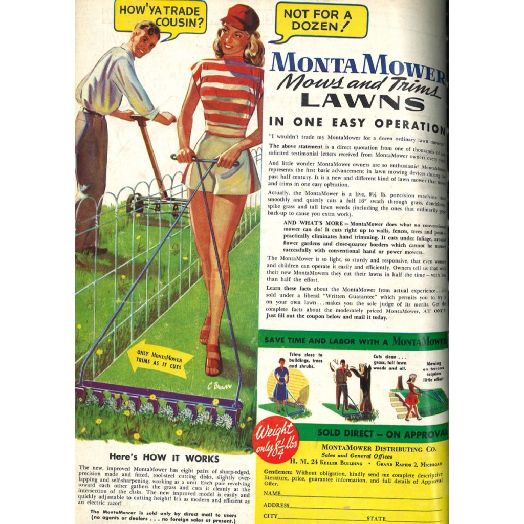 An ad for a fancy oldschool lawnmower | Construction Pro Tips
