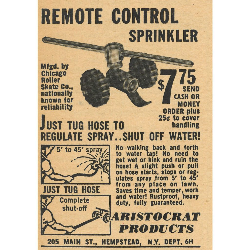 An ad for a remote control sprinkler | Construction Pro Tips