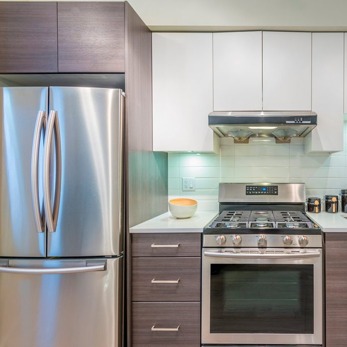 stainless steel appliances and fridge