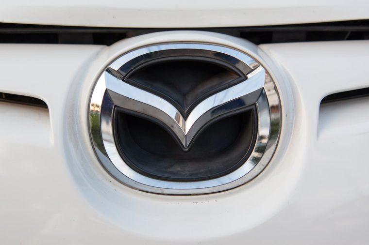 1 february 2017:in chiangmai thailand, The Mazda symbol. Mazda, is a Japanese automaker based in Fucha, Aki District, Hiroshima Prefecture, Japan.