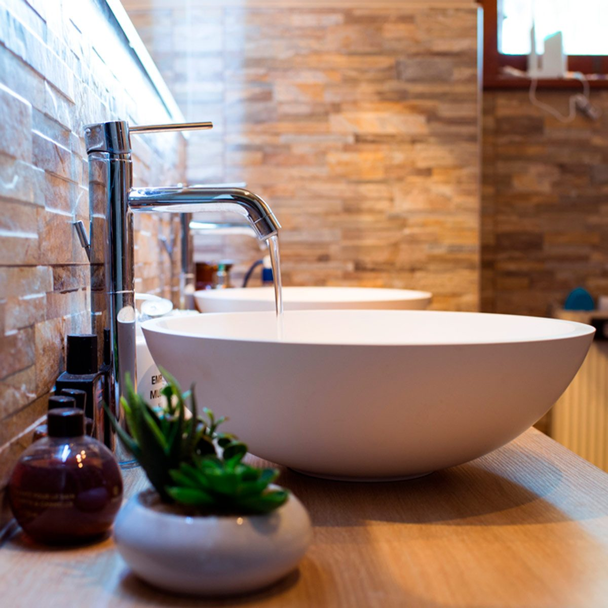 vessel sink in bathroom