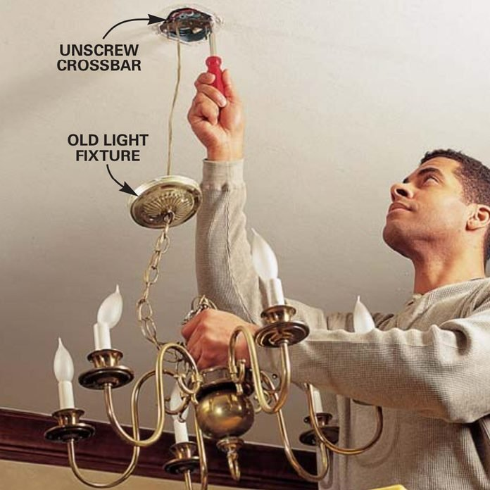 How To Hang A Ceiling Light Fixture, How To Remove A Large Chandelier