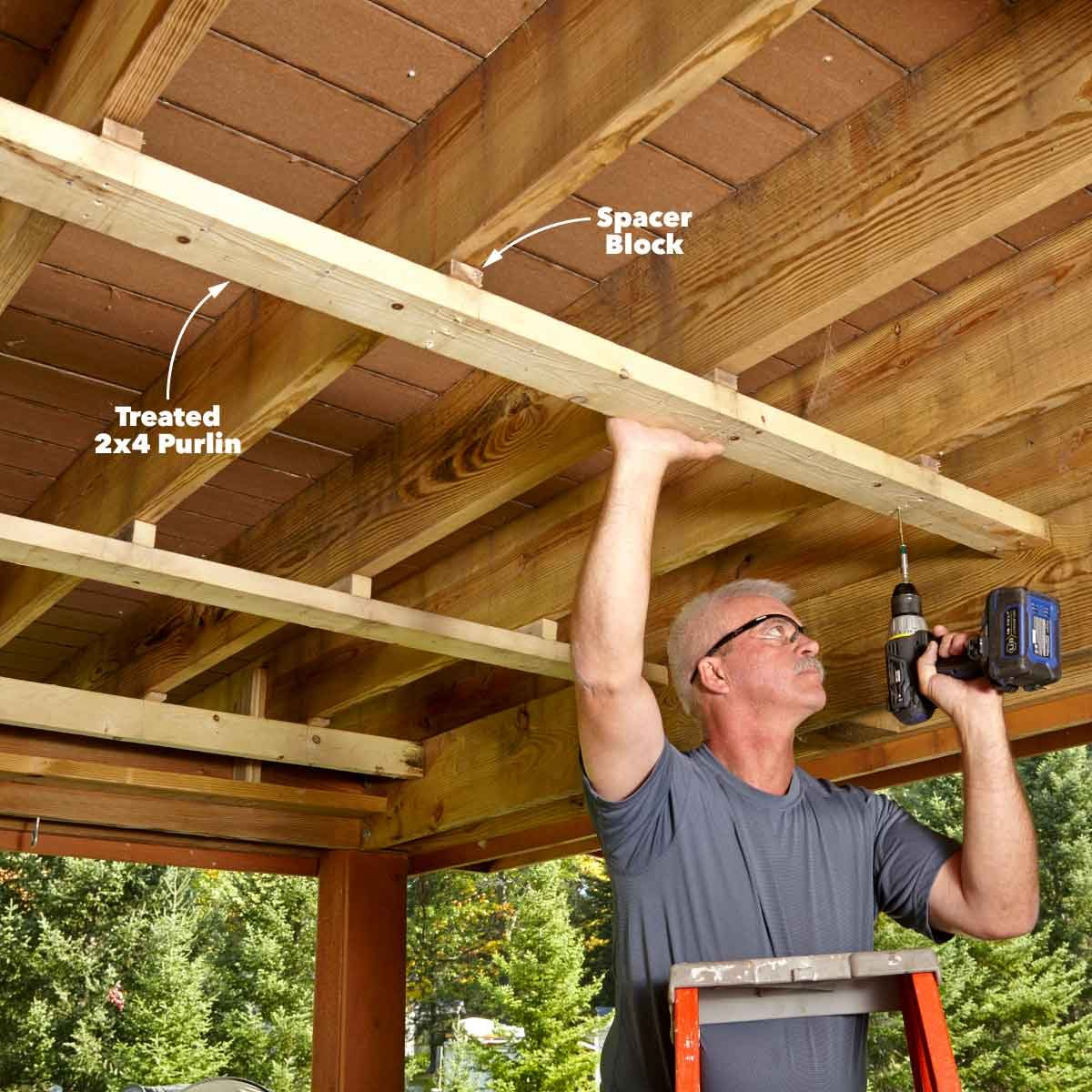 under deck roof attach the purlins