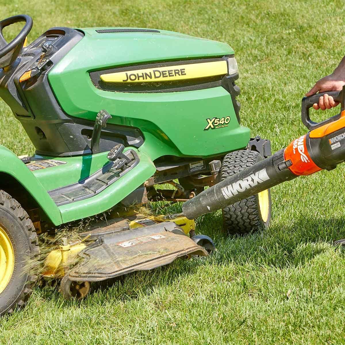 leaf blower grass-free mower decks