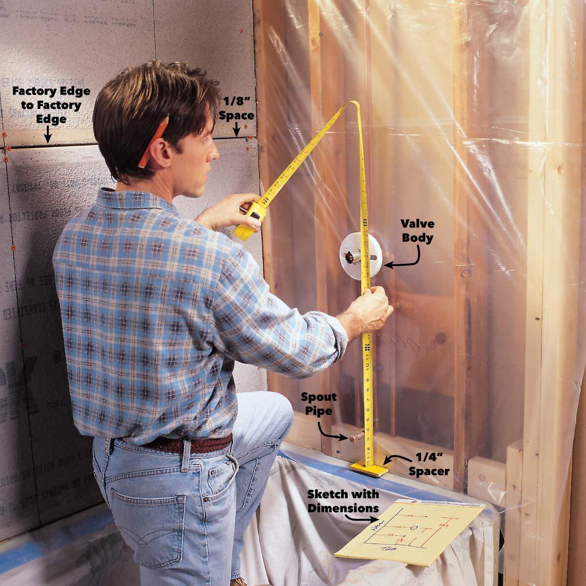 find centers for plumbing fixtures