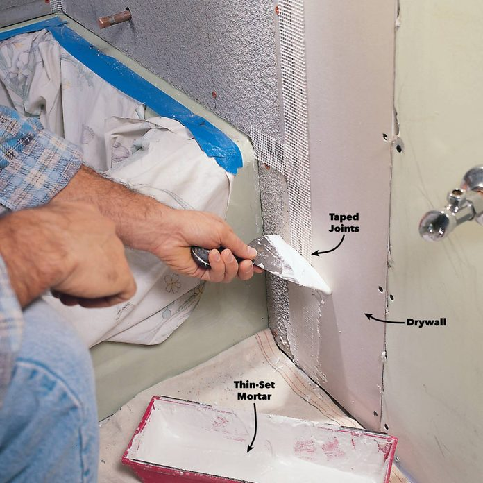 Tape the seams with mortar
