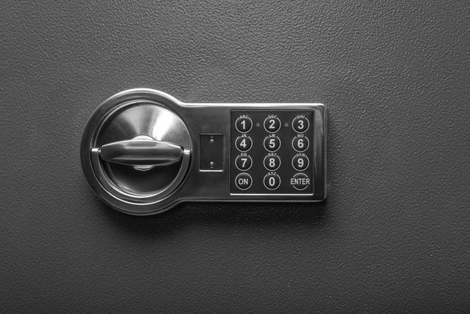 Code lock on the safe door.