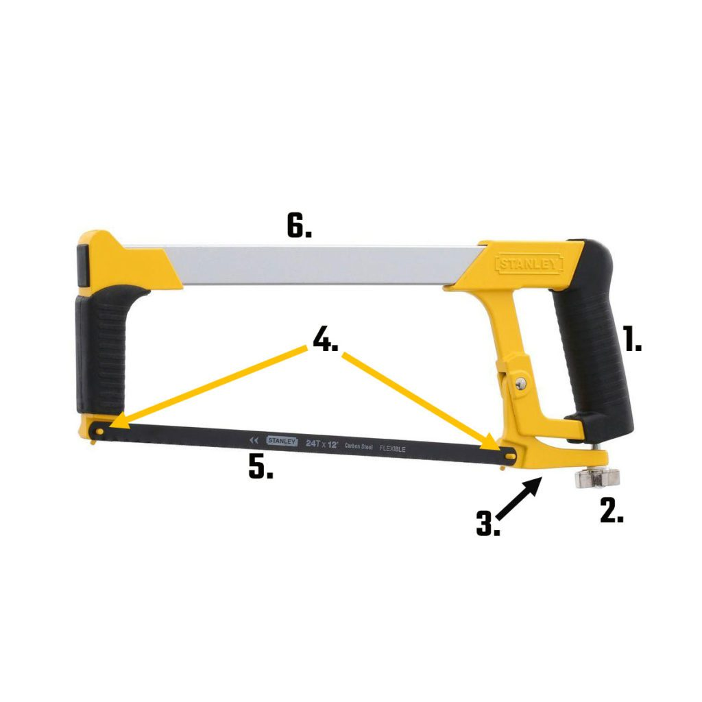 A hacksaw with all of its parts labeled   Construction Pro Tips