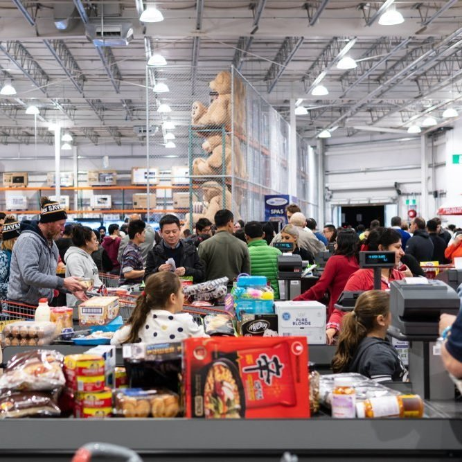 Melbourne, Australia - Aug 29, 2018: Costco Epping Store opening day. People lining up to checkout.