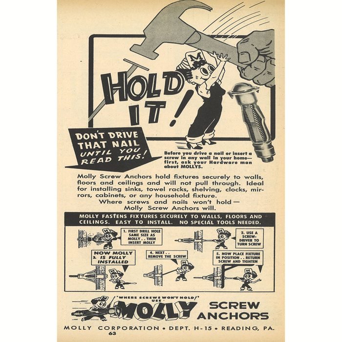 An ad for Molly Screw Anchors | Construction Pro Tips