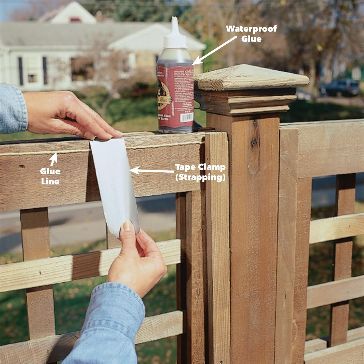 Glue damaged wood fence pieces