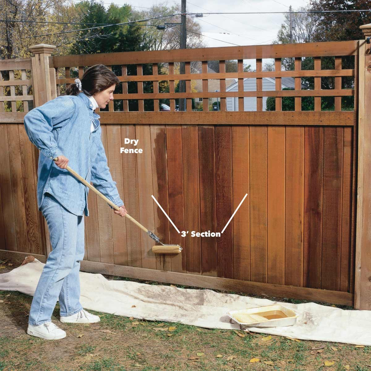 roll fence stain