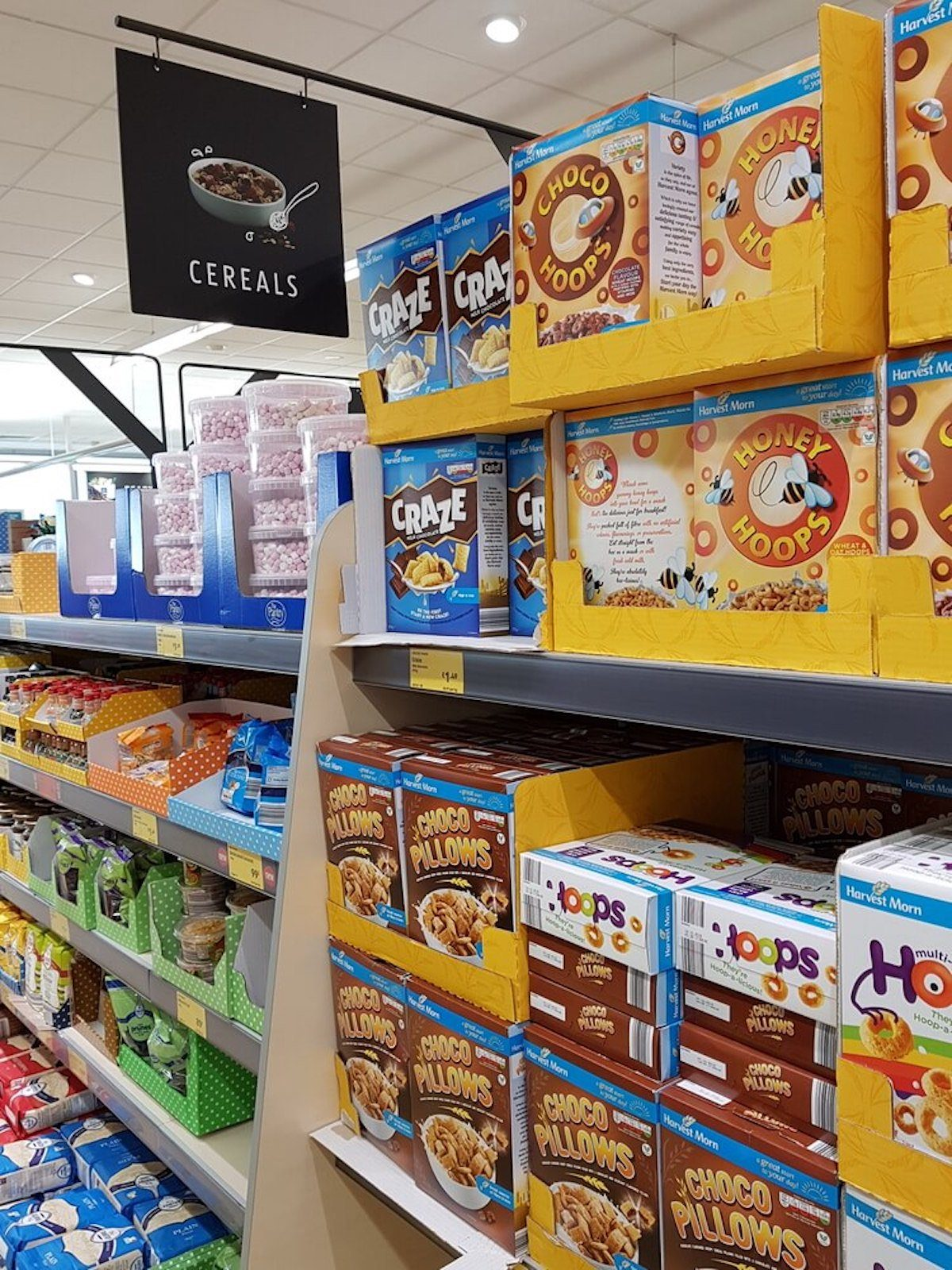 grocery aisle of cereal