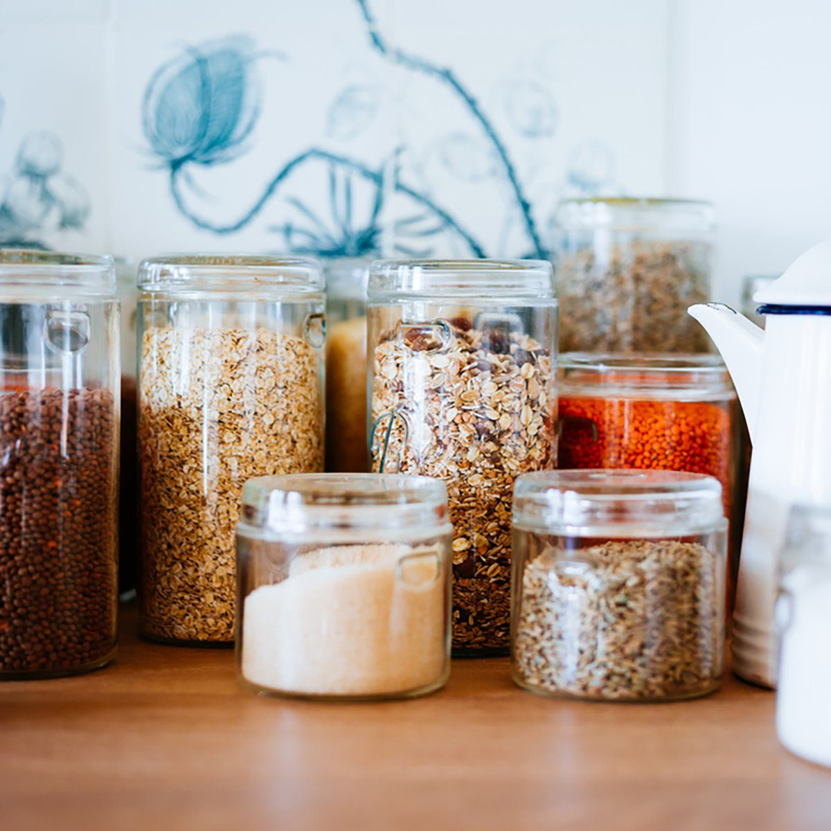 Jar of cereals in kitchen cupboard