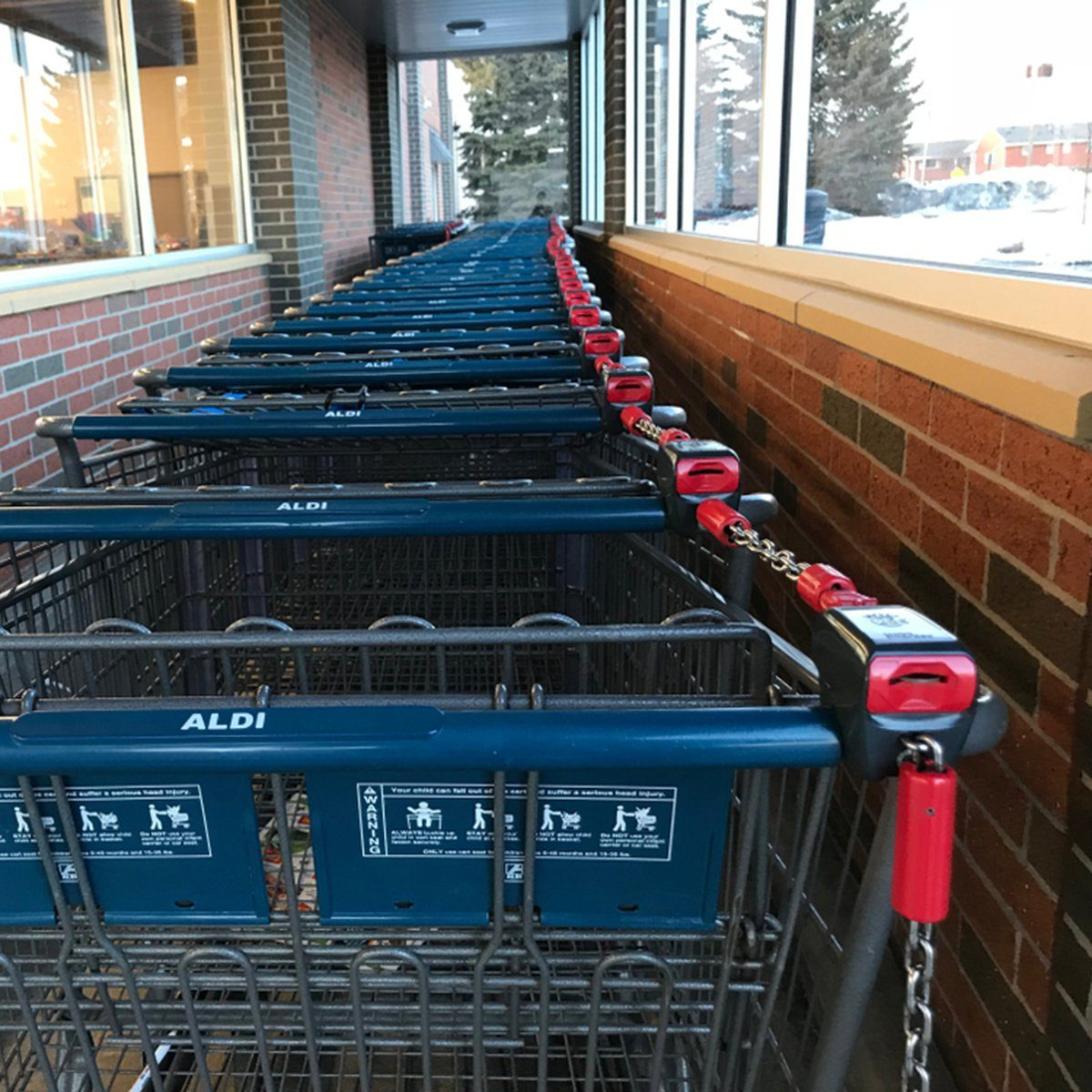 The carts outside of an Aldi Food Market store in Minnesota.