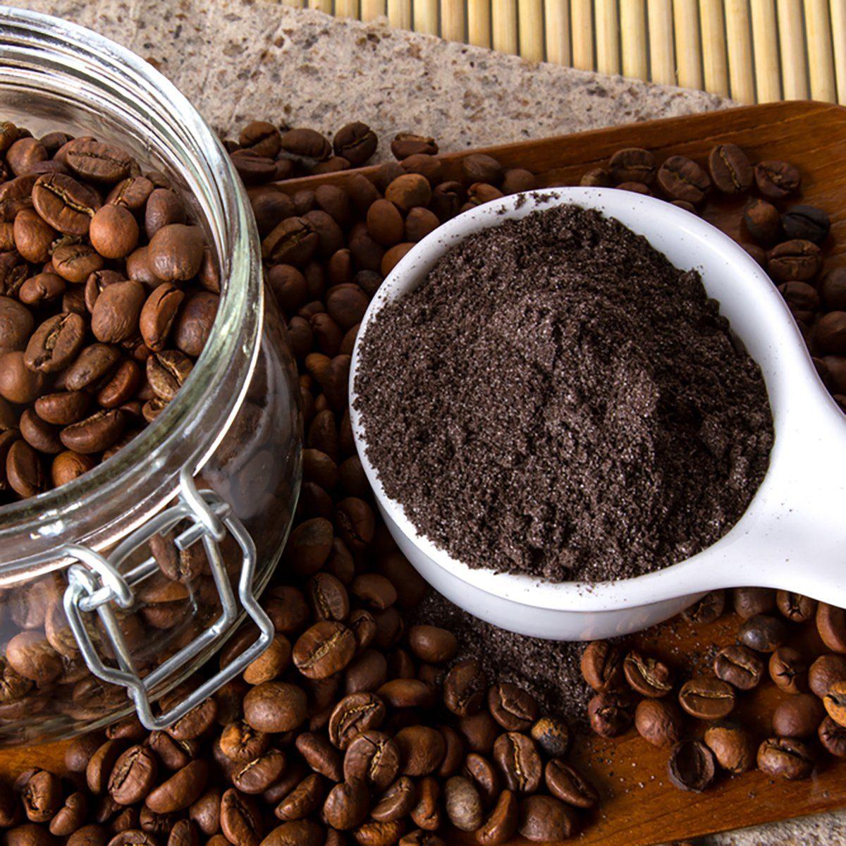 Coffee skin scrub for spa