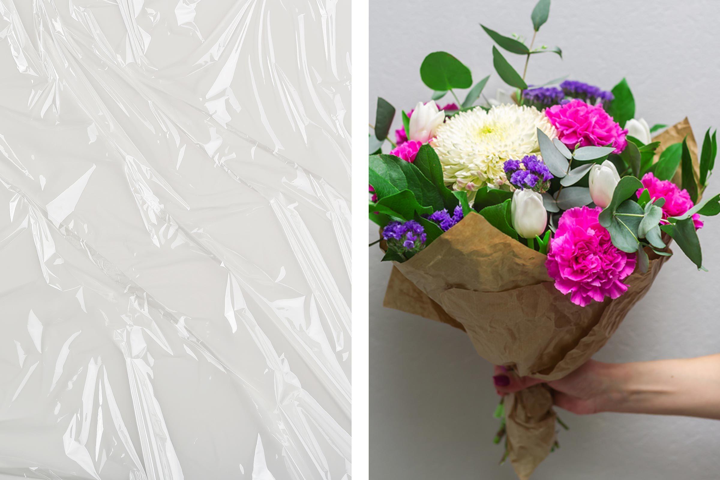 plastic wrap flowers