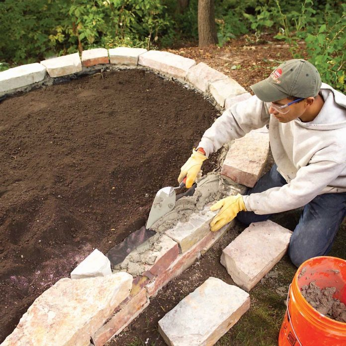 Mortar the capstones in place