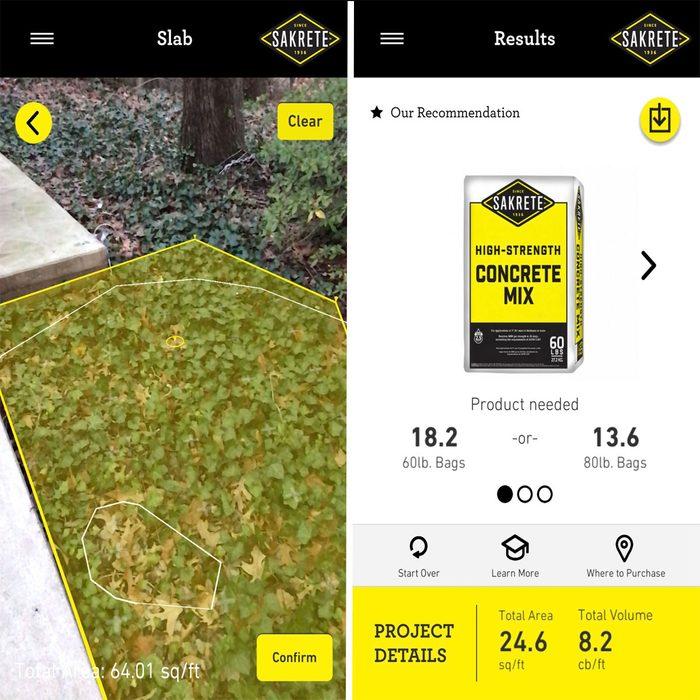 Sakrete AR Application Screenshot | Construction Pro Tips
