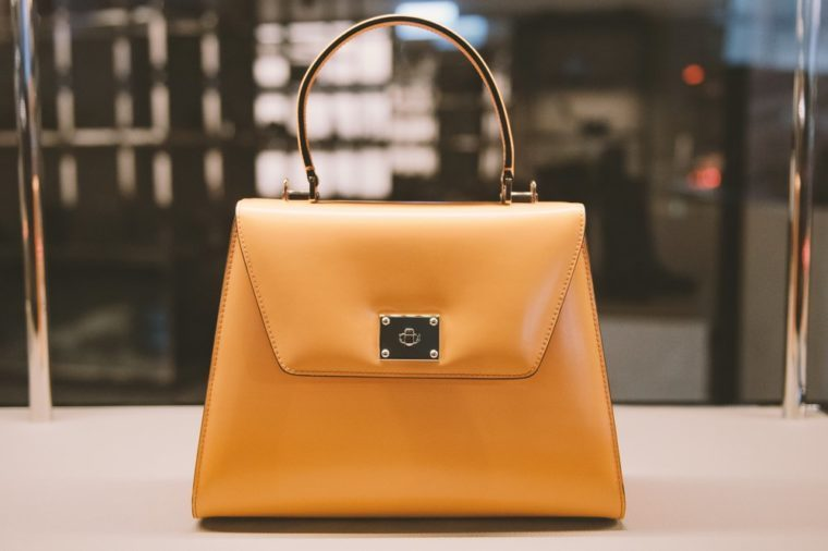 Woman handbag in a showcase of a luxury store